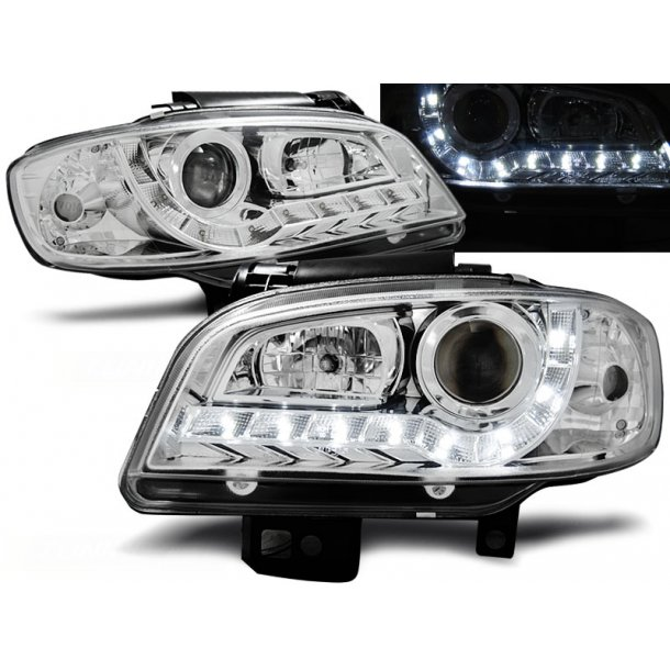 Frontlykter SEAT IBIZA/CORDOBA 09.99-03.02 CHROME LED